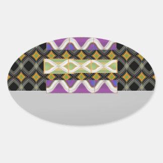Elegant Diamond Waves n Strip for Text Greeting Oval Sticker