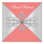 Elegant Diamonds Coral Sweet 16 Birthday Party 13 Cm X 13 Cm Square Invitation Card