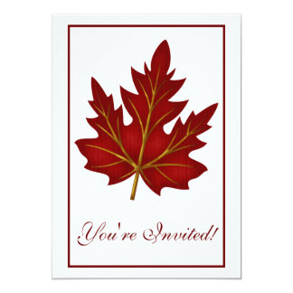 "Elegant Dinner Party Invitation Autumn Leaf 1 5"" X 7"" Invitation Card"