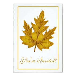 "Elegant Dinner Party Invitation Autumn Leaf 2 5"" X 7"" Invitation Card"
