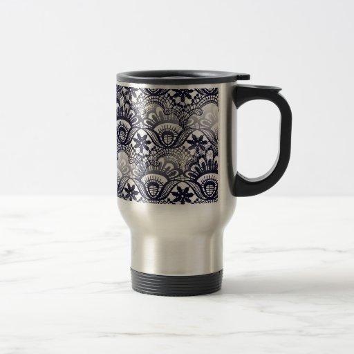 Elegant Distressed Navy Blue Lace Damask Pattern Mugs