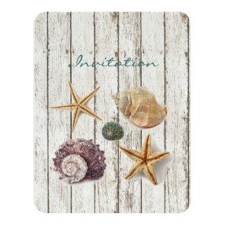 elegant dock wood seashells beach wedding 11 cm x 14 cm invitation card