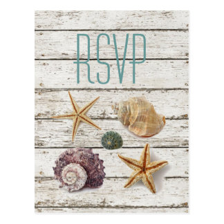 elegant dock wood seashells beach wedding rsvp postcard