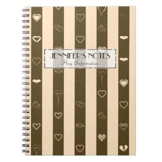 Elegant Donkey Brown Stripes Modern Heart Pattern Notebooks