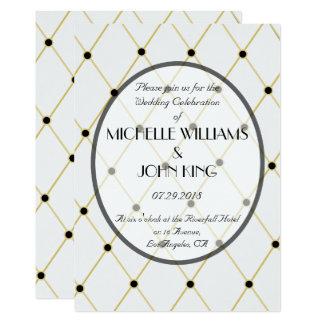Elegant Dotted Diamond Pattern Wedding Invitation