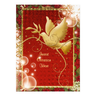 Elegant Dove peace swirls christmas party Personalized Invite