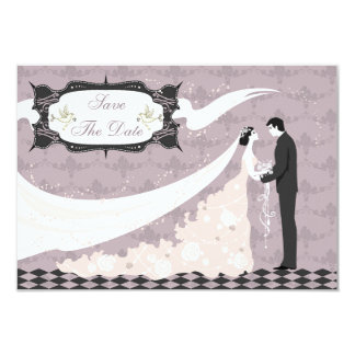 Elegant Doves, Bride & Groom Save the Date 9 Cm X 13 Cm Invitation Card