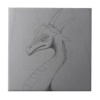 Elegant Dragon Drawing Small Square Tile