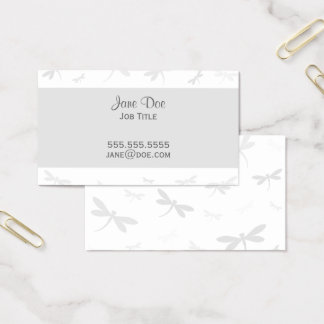 Elegant Dragonfly Design - Gray Business Card