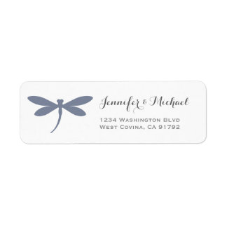 Elegant Dragonfly Label Template | Steel Blue Gray