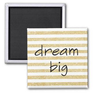 elegant dream big text | faux gold glitter stripes square magnet
