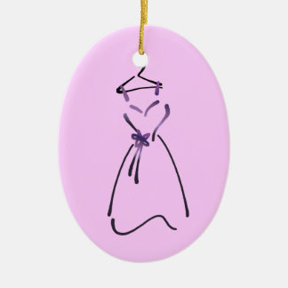 Elegant Dress Design with Customizable Slogan Ceramic Ornament