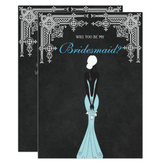 Elegant Dress Will You Be My Bridesmaid Card