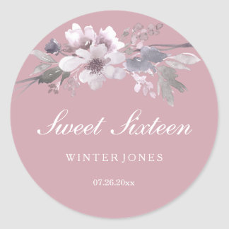Elegant Dusty Pink Floral Sweet 16 Stickers