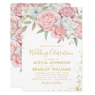 Elegant Dusty Pink Gold Floral Garden Wedding Card