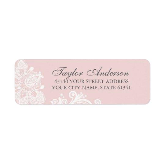 Elegant Dusty Pink Lace Return Address Label