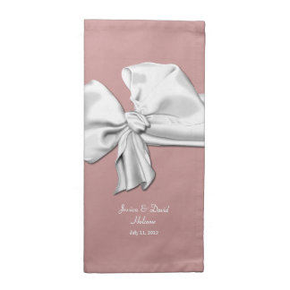 Elegant Dusty Rose and White Bow Wedding Napkins