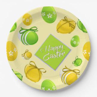 Elegant Easter Eggs Pattern Paper Plate