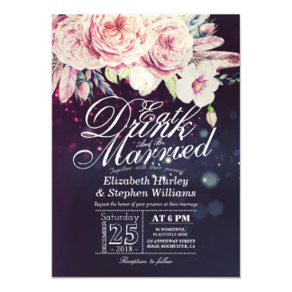 Elegant EAT Drink & Be Married Wedding Invitations