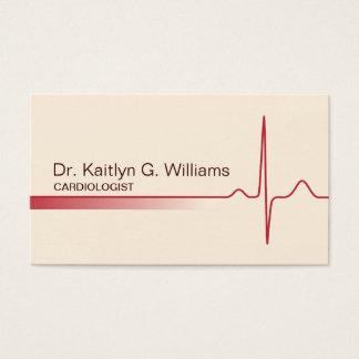 Elegant ECG wave cardiologist business card