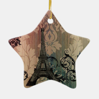 elegant eiffel tower floral vintage paris ceramic star decoration