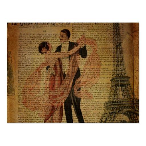 elegant eiffel tower floral vintage paris post card