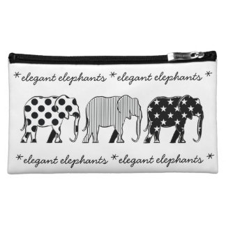 Elegant Elephants Cartoon Chic Funny Stars Dots Cosmetic Bags