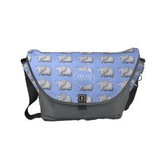 Elegant Elephants Pattern Monogram Baby Diaper Commuter Bag