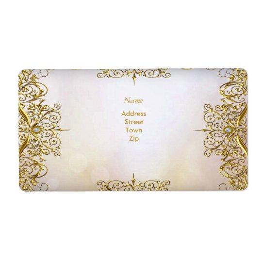 Elegant Elite White Gold Wedding Gold Beige Shipping Label