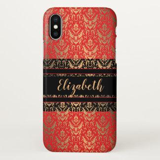 Elegant Elizabeth Red, Black and Gold Damask iPhone X Case