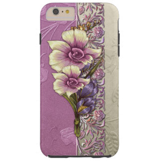 Elegant Embossed Lilac and Silver Damask Tough iPhone 6 Plus Case