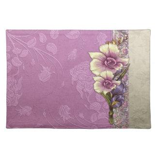 Elegant Embossed Lilac Damask Placemat