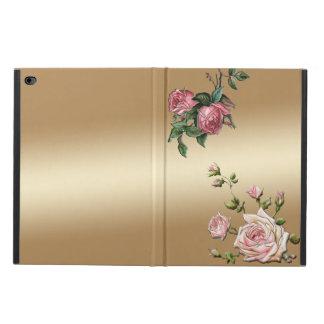Elegant Embossed Pink Roses on Gold Background