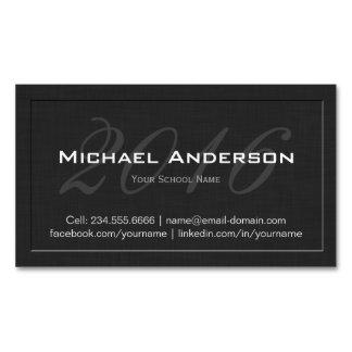 Elegant Embossed Senior Class Graduation Name Card Magnetic Business Cards