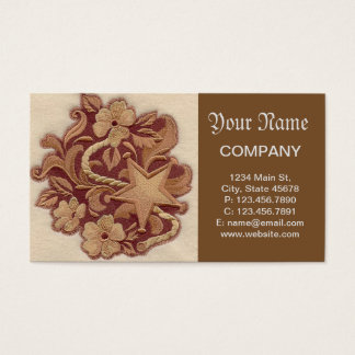 Elegant Embroidery Flowers and Star Business Card