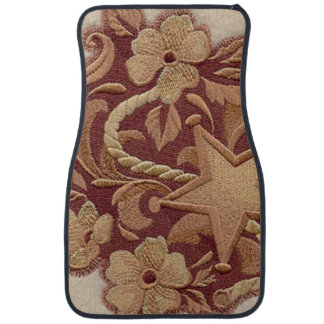 Elegant Embroidery Flowers and Star Floor Mat