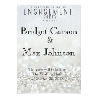 Elegant Engagement Party Invitation//Silver Card