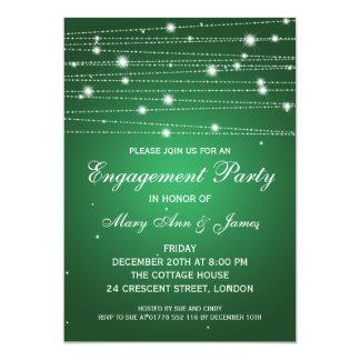 Elegant Engagement Party Sparkling Lines Emerald 13 Cm X 18 Cm Invitation Card