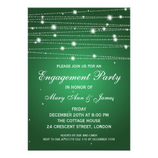 Elegant Engagement Party Sparkling Lines Emerald Card