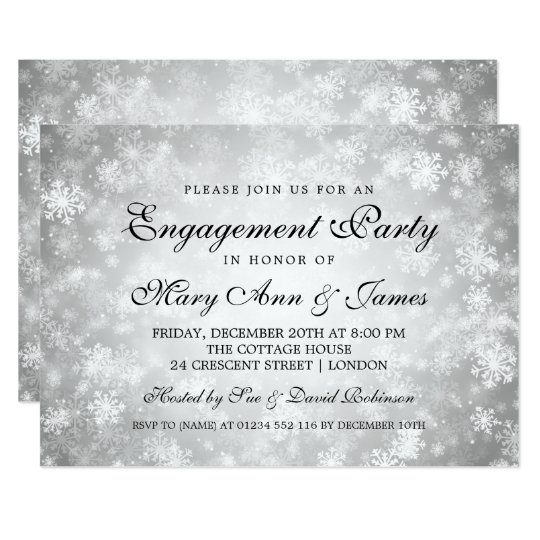 Elegant Engagement Party Winter Wonderland Silver Card