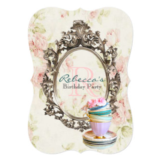 elegant english floral vintage birthday party 13 cm x 18 cm invitation card