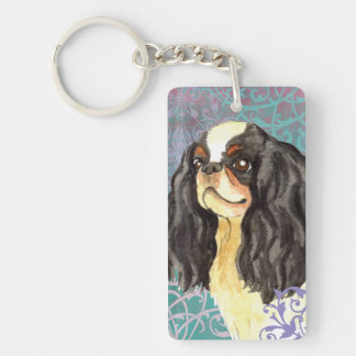 Elegant English Toy Spaniel Double-Sided Rectangular Acrylic Key Ring