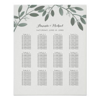 Elegant Eucalyptus Garden Wedding Seating Chart