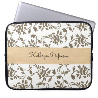 Elegant European Floral White Laptop Sleeve