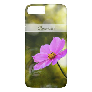 Elegant Evening Pink Cosmos Pretty Flower and Name iPhone 7 Plus Case