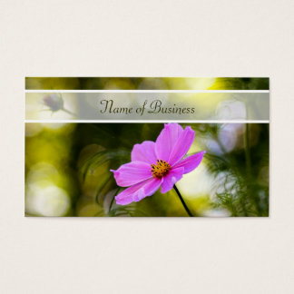Elegant Evening Pink Cosmos Wildflower With Name Business Card