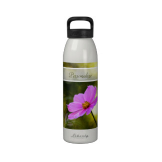 Elegant Evening Pink Cosmos Wildflower With Name Drinking Bottles