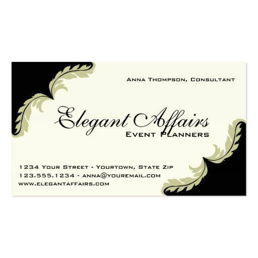Elegant event planner business card zazzle for Party planning business cards