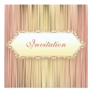 Elegant Events Peaches & Cream Curtain 5.25x5.25 Square Paper Invitation Card