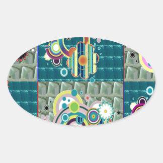 Elegant Exotic Artistic Pattern Stone Crystal GIFT Oval Sticker